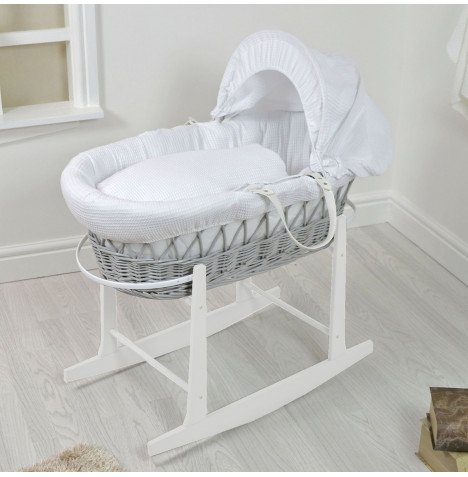 4Baby Padded Grey Wicker Moses Basket & Rocking Stand - White Waffle