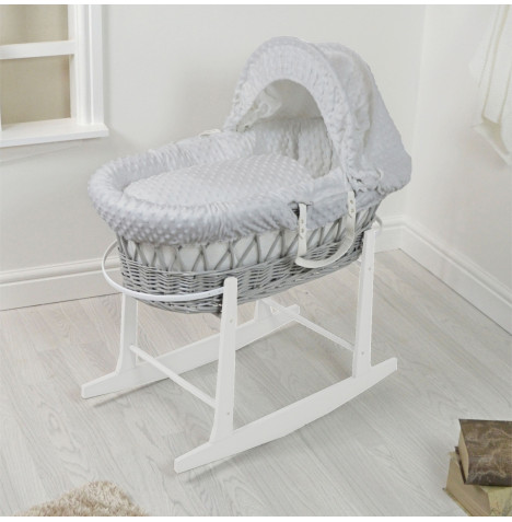 4Baby Padded Grey Wicker Moses Basket & Rocking Stand - Grey Dimple