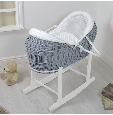 4baby Grey Wicker Deluxe Rollover Snooze Pod Moses Basket & Rocking Stand - White Dimple