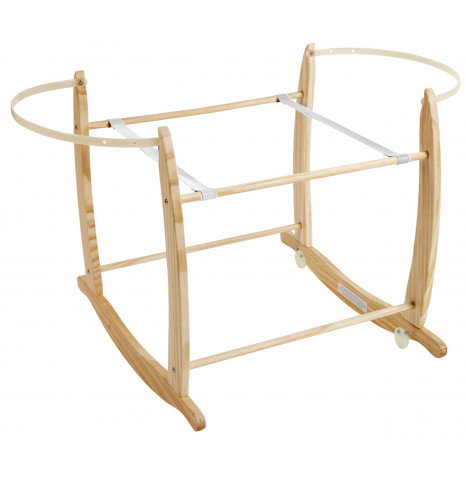Puggle Deluxe Wooden Moses Basket Rocking Stand - Natural