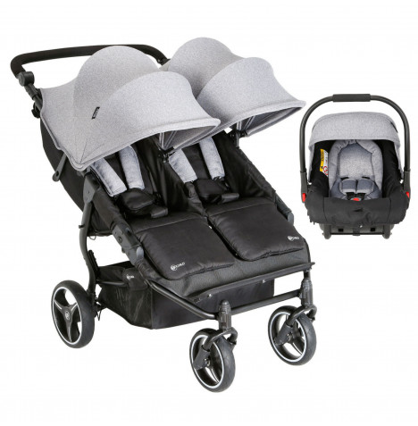 My Child Easy Twin Double Stroller Travel System (1 Car Seat) - Grey