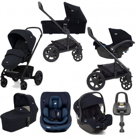 Joie Chrome DLX (i-Venture & i-Gemm) Travel System with Carrycot & Isofix Base Bundle - Navy Blazer