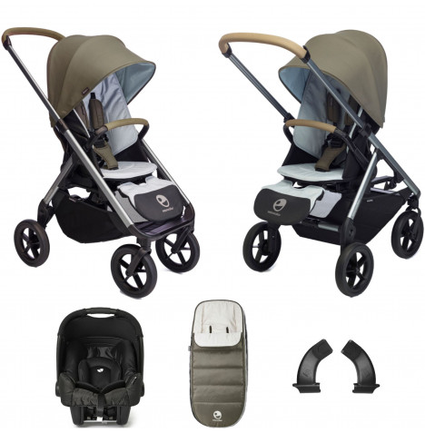 Easywalker Mosey+ (Gemm) Travel System Bundle with Accessories - Moss Green