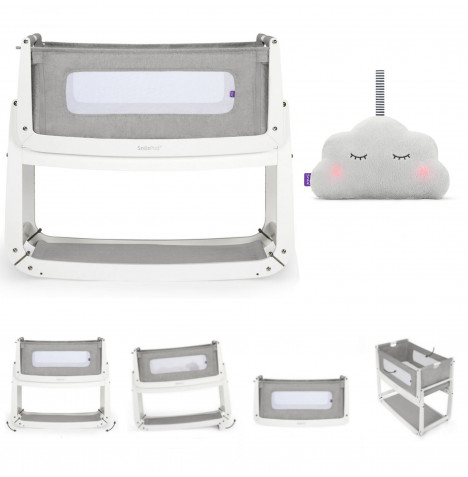 Snuz SnuzPod3 Bedside Crib 3 in 1 With Mattress & Snuzcloud Sleep Aid Bundle - Dusk Grey