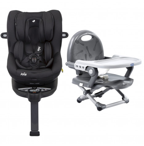 Joie i-Spin 360 iSize Group 0+/1 Car Seat with Chicco Pocket Snack Booster Seat Bundle - Coal / Dark Grey