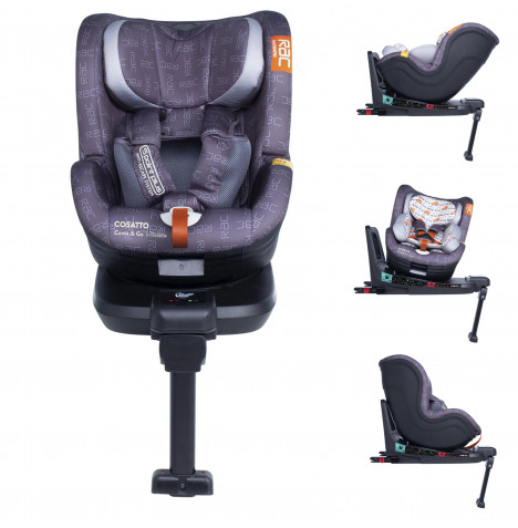 Cosatto RAC Come And Go 360 Spin Group 0+ / 1 Isofix Car Seat - Traffic Jam Grey