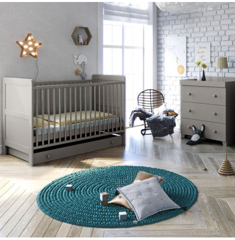Little Acorns Classic Milano Cot Bed 4 Piece Nursery Furniture Set with Drawer - Light Grey