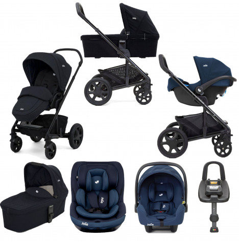 Joie Chrome DLX (i-Snug & i-Venture) Travel System With Carrycot and ISOFIX Base Bundle - Navy Blazer
