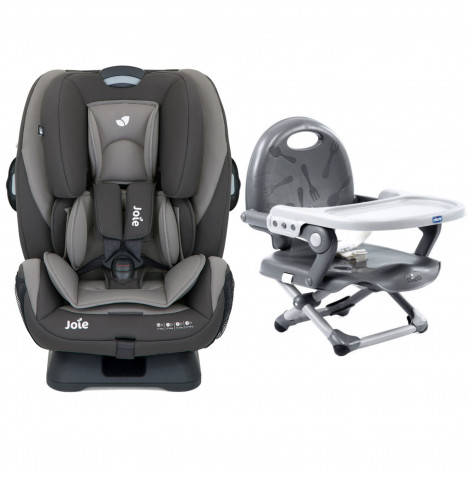 Joie Every Stage Group 0+/1/2/3 Car Seat with Chicco Pocket Snack Booster Seat Bundle - Dark Pewter / Dark Grey
