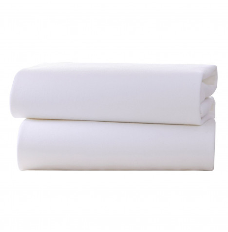 Izziwotnot Designer Cot Bed Jersey Interlock Fitted Sheets (2 Pack) - White
