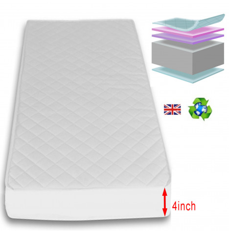 4Baby Deluxe Foam / Fibre Cot Bed Safety Mattress 140 x 70cm