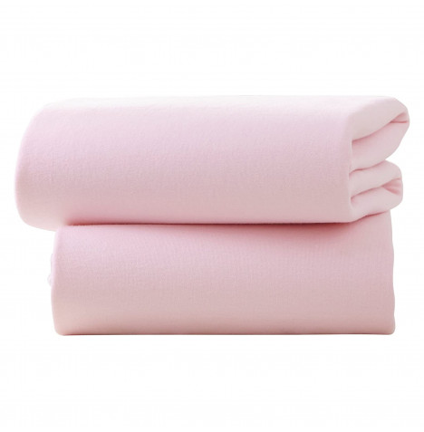 Izziwotnot Designer Cot Jersey Interlock Fitted Sheets (2 Pack) - Pink
