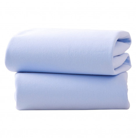 Izziwotnot Designer Cot Jersey Interlock Fitted Sheets (2 Pack) - Blue