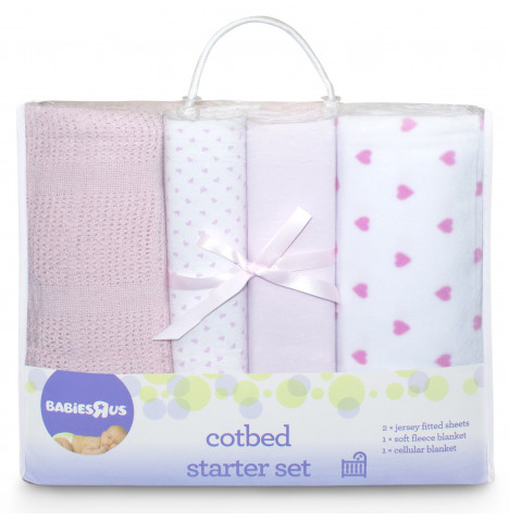 Babies R Us Mothercare 4 Piece Cot Bed Starter Set - Pink Heart