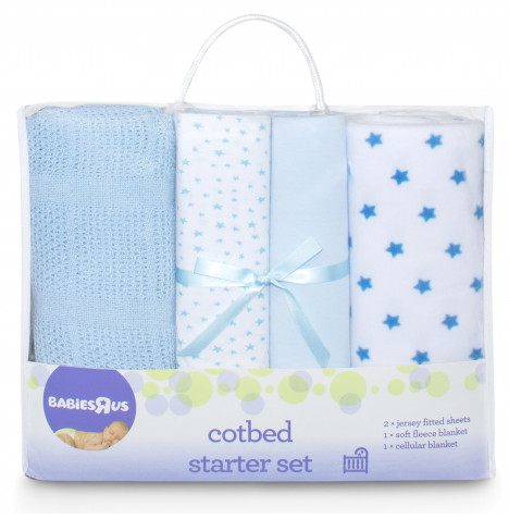 Babies R Us Mothercare 4 Piece Cot Bed Starter Set - Blue Star