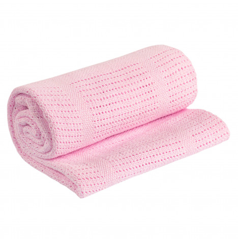 My Little World Cellular Cot / Cot Bed Blanket - Pink