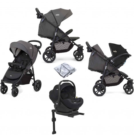 Joie Litetrax 4 Wheel (i-Level) Pushchair Travel System With ISOFIX Base - Coal