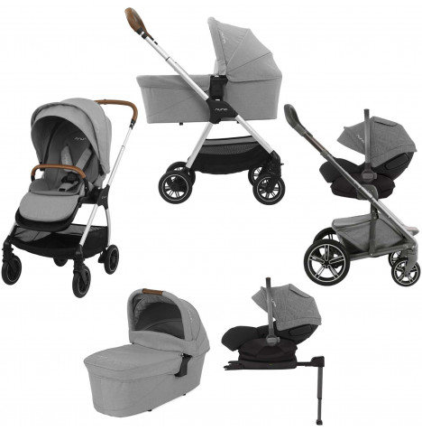 Nuna Triv (Arra) Travel System, ISOFIX Base & Carrycot - Frost Grey