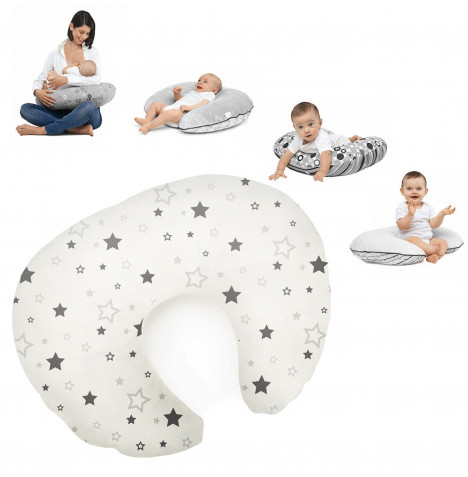 Cuddle Co 4 in 1 Luxury Feeding and Infant Support Pillow - Grey Star