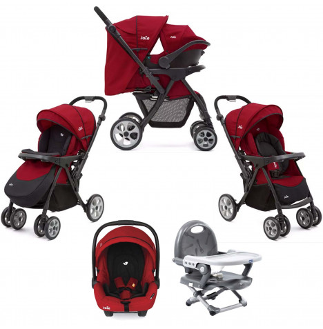 Joie Extoura Travel System With Chicco Pocket Snack Booster Seat Bundle - Cherry Red / Dark Grey