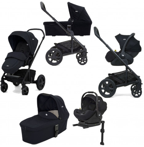 Joie Chrome DLX (i-Level) Travel System With Carrycot (inc Footmuff & ISOFIX Base) - Navy Blazer