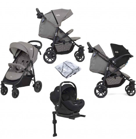 Joie Litetrax 4 Wheel (i-Level) Pushchair Travel System & ISOFIX Base - Grey Flannel