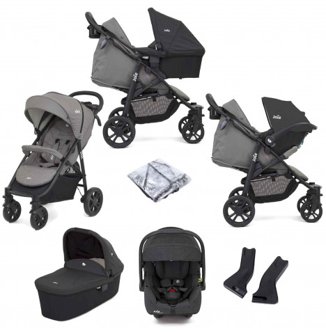 Joie Litetrax 4 Wheel (i-Gemm 2) Travel System with Carrycot - Grey Flannel