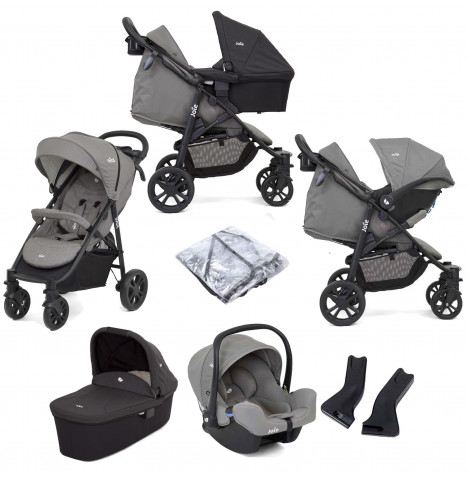 Joie Litetrax 4 Wheel (i-Snug) Travel System with Carrycot - Grey Flannel