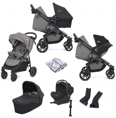 Joie Litetrax 4 Wheel (i-Level) Travel System with Carrycot and ISOFIX Base - Grey Flannel