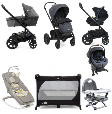 Joie Mothercare Chrome DLX Everything You Need I-Level Travel System (With Carrycot) Bundle - Pavement