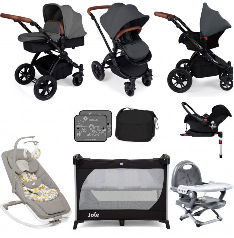 Ickle Bubba / Joie Stomp V3 Black Everything You Need Travel System Bundle (Galaxy Car Seat With Base) - Graphite Grey
