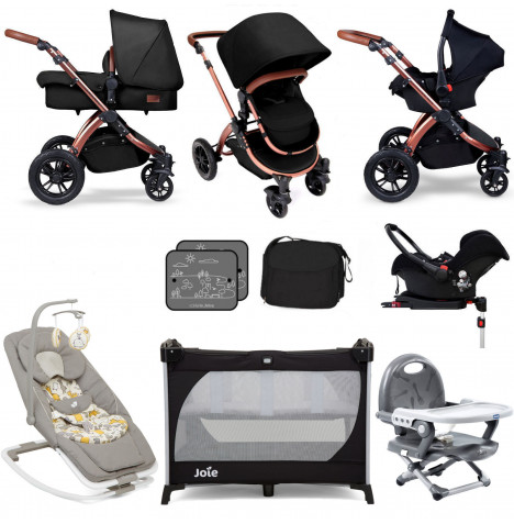 Ickle Bubba / Joie Special Edition Stomp V4 Everything You Need Travel System Bundle (With Base) - Midnight Bronze