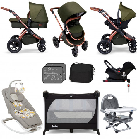 Ickle Bubba Special Edition Stomp V4 Everything You Need Travel System Bundle (With Base) - Woodland