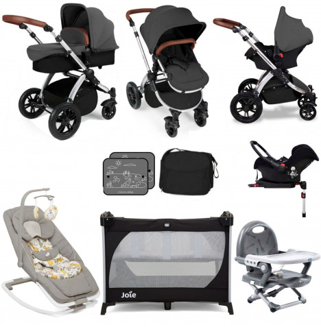 Ickle Bubba Stomp V3 Silver Everything You Need Travel System Bundle (With Base) - Graphite Grey