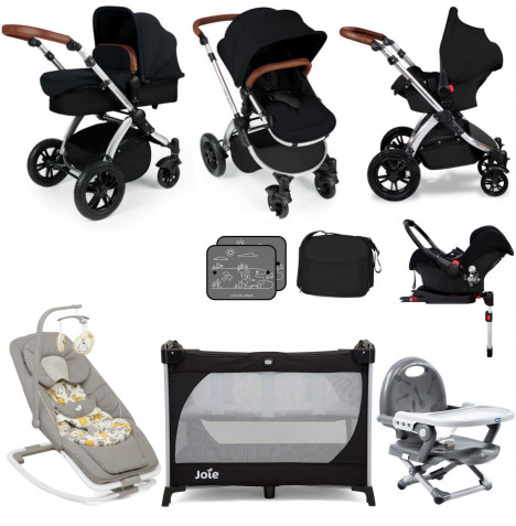 Ickle Bubba Stomp V3 Silver Everything You Need Travel System Bundle (With Base) - Black