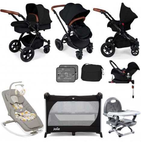 Ickle Bubba / Joie Stomp V3 Black Everything You Need Travel System Bundle (With Base) - Black