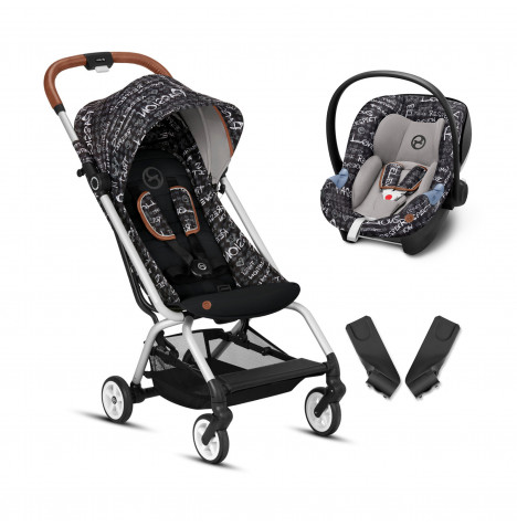 Cybex Eezy S Gold Fashion Edition Pushchair Stroller (Aton M) Travel System With Adapters - Strength Dark Grey