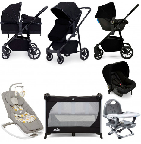 Ickle Bubba Moon Everything You Need 3 in 1 Travel System Bundle - Black