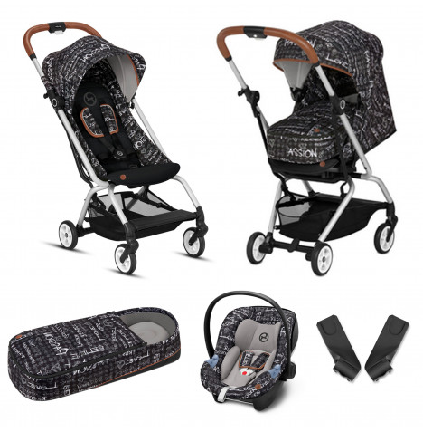 Cybex Eezy S Gold Fashion Edition Pushchair Stroller (Aton M) Travel System With Cocoon - Strength Dark Grey