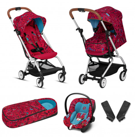 Cybex Eezy S Gold Fashion Edition Pushchair Stroller (Aton M) Travel System With Cocoon - Love Red