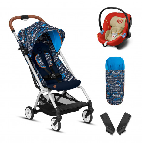 Cybex Eezy S Gold Fashion Edition Pushchair Stroller (Aton M) Travel System With Footmuff - Trust Blue / Autumn Gold