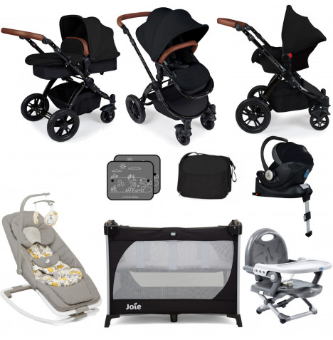 Ickle Bubba / Joie Stomp V3 Everything You Need Travel System Bundle (With Base) - Black