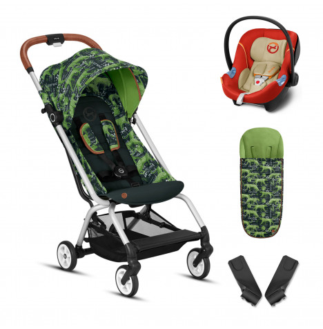 Cybex Eezy S Gold Fashion Edition Pushchair Stroller (Aton M) Travel System With Footmuff - Respect Green / Autumn Gold
