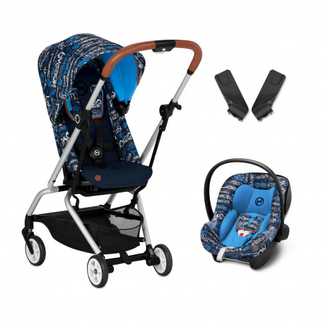 Cybex Eezy S Twist Gold Fashion Edition 360° Rotating Pushchair Stroller (Aton M) Travel System With Adaptors - Trust Blue