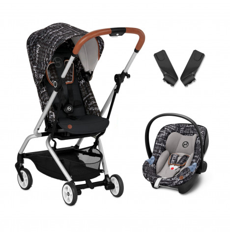 Cybex Eezy S Twist Gold Fashion Edition 360° Rotating Pushchair Stroller (Aton M) Travel System With Adaptors - Strength Dark Grey