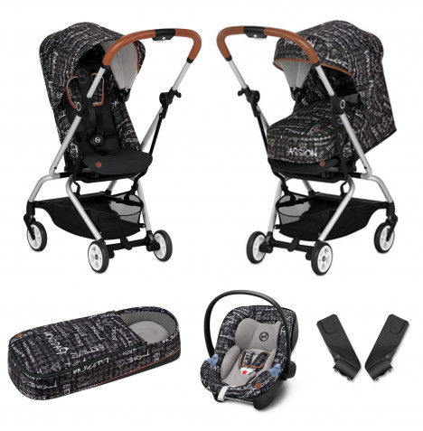 Cybex Eezy S Twist Gold Fashion Edition 360° Rotating Pushchair Stroller (Aton M) Travel System With Cocoon - Strength Dark Grey
