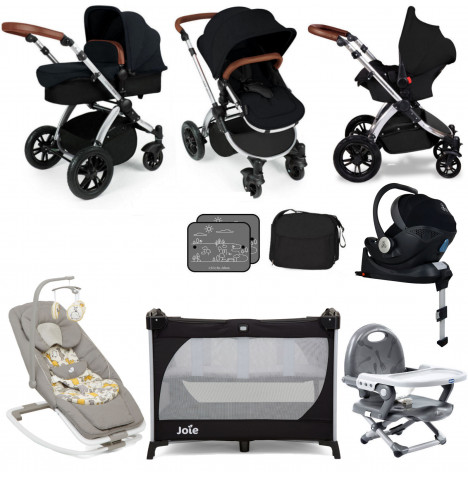 Ickle Bubba Stomp V3 Silver (Mercury Car Seat) Everything You Need Travel System Bundle (With Base) - Black