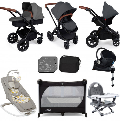Ickle Bubba / Joie Stomp V3 Everything You Need Travel System Bundle (Mercury Car With Base) - Graphite Grey on Black