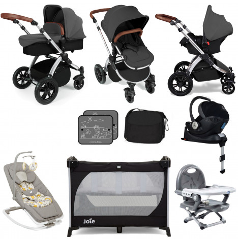 Ickle Bubba Stomp V3 Mercury Car Seat Everything You Need Travel System Bundle (With Base) - Graphite Grey on Silver