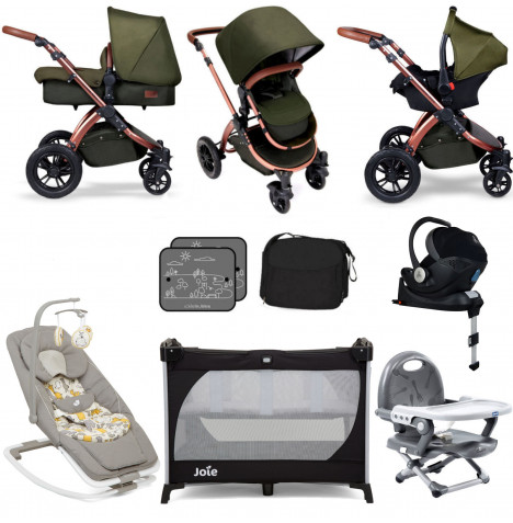Ickle Bubba Special Edition Stomp V4 (Mercury Car Seat) Everything You Need Travel System Bundle (With Base) - Woodland